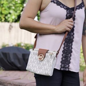 Michael Kors Fulton Crossbody White and Brown